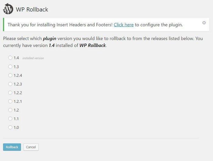 Retour aux versions précédentes des thèmes et plugins avec WP Roll Back