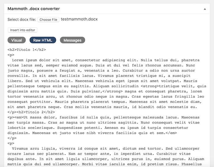 Comment importer des documents docx dans WordPress