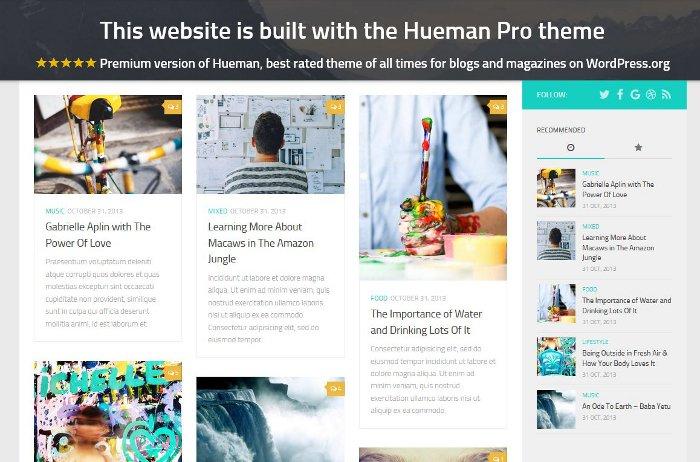 Gratuit Hueman examen de thème pour WordPress