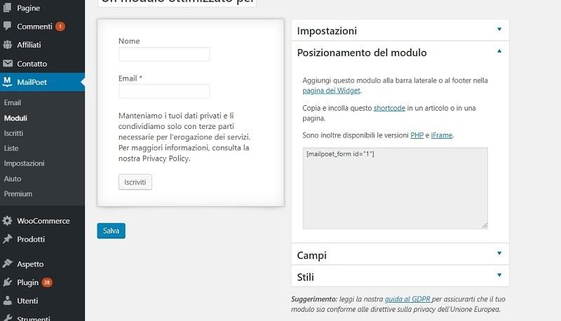 Créer une newsletter en italien avec MailPoet Newsletters (Wysija)